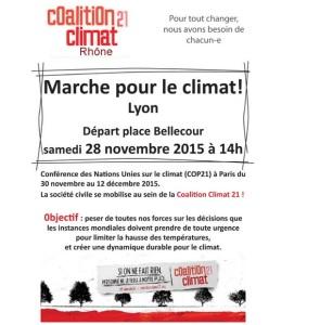 coalition climat 21 Rhone Lyon 28 novembre 2015 marche