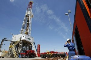 A well is seen at a test drilling site Markowola-1 near Kozienice, central Poland