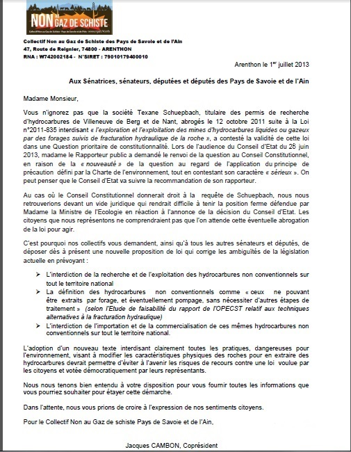 Lettre aux parlementaires QPC loi gaz de schiste