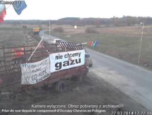 Prise de vue depuis le campement d'Occupy Chevron en Pologne.