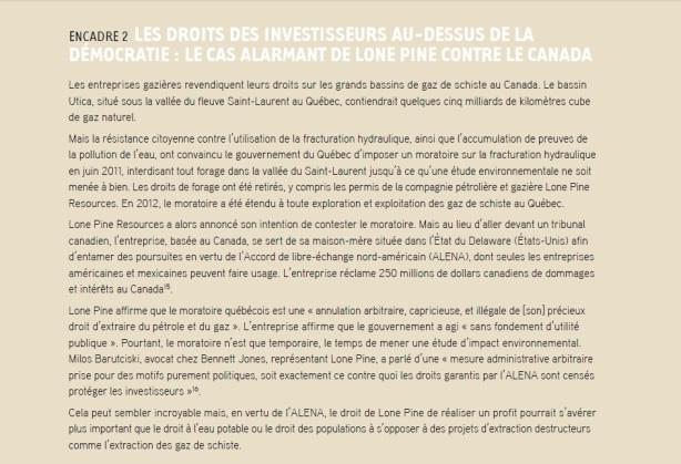 DROITS DES INVESTISSEURS AU-DESSUS DE LA DÉMOCRATIE  LONE PINE CONTRE LE CANADA