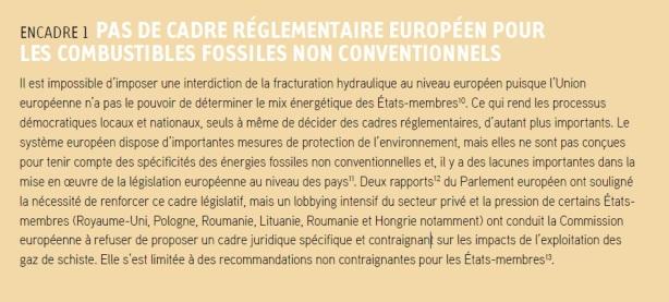 PAS DE CADRE RÉGLEMENTAIRE EUROPÉEN POUR COMBUSTRILES FOSSILES NON CONVENTIONNELS