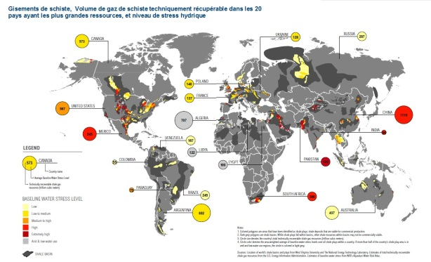 WWRI shale gas worldwide reserves mondiales gaz de schiste