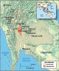 carte bassin gaz de schiste Thailande USGS shale gas deposit